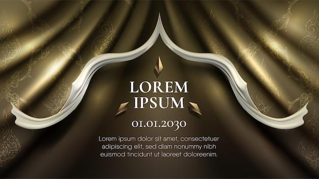 Motif thaï traditionnel abstrait sur rideau d'or rip curl plus bord blanc