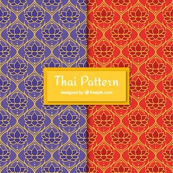 Motif thaïlandais coloré avec un design plat