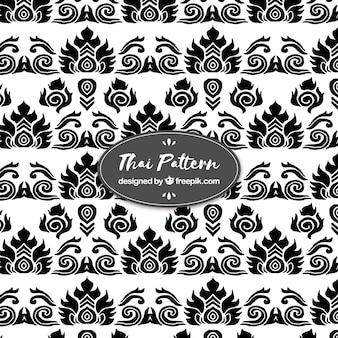 Motif thaïlandais noir et blanc avec un design plat