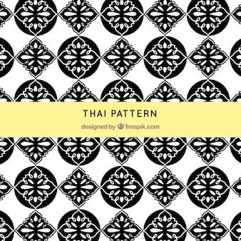 Motif thaïlandais noir et blanc avec un style élégant
