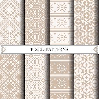 Motif thaïlandais en pixels pour la fabrication de textiles en tissu ou de fond de page web.
