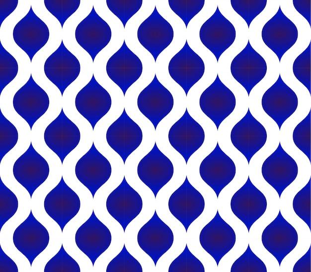 Motif thaïlandais sans soudure, fond de forme moderne en céramique bleu et blanc