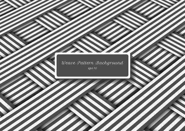 Motif de tissage abstrait lignes grises et blanches