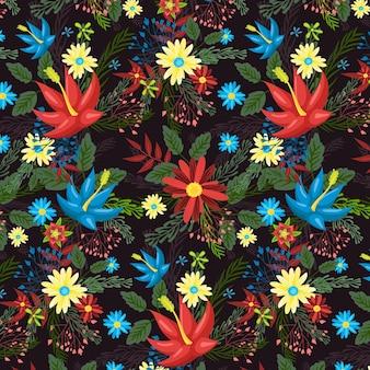 Motif de tissu floral peint à la main
