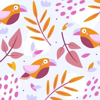 Motif toucan avec des feuilles