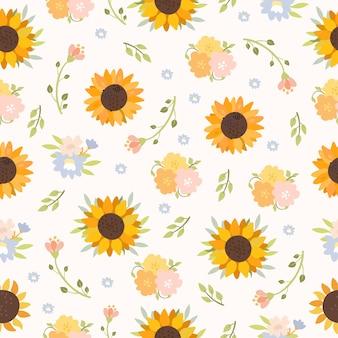 Motif de tournesols et de fleurs