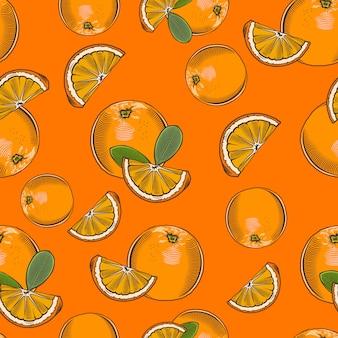 Motif transparent brillant avec des oranges dans un style vintage