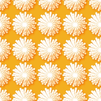 Motif transparent floral origami blanc sur fond orange.