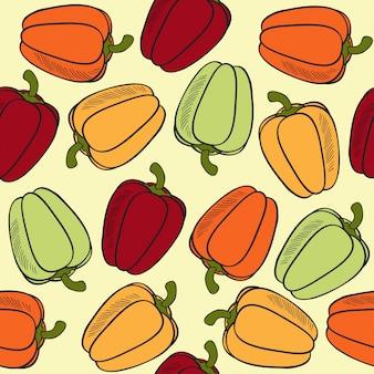 Motif transparent avec des poivrons
