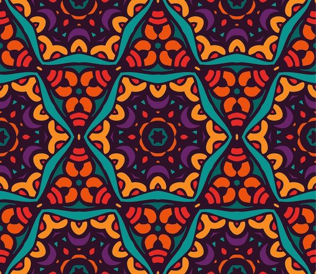 Motif tribal ethnique abstrait vecteur floral coloré festif. motif floral géométrique