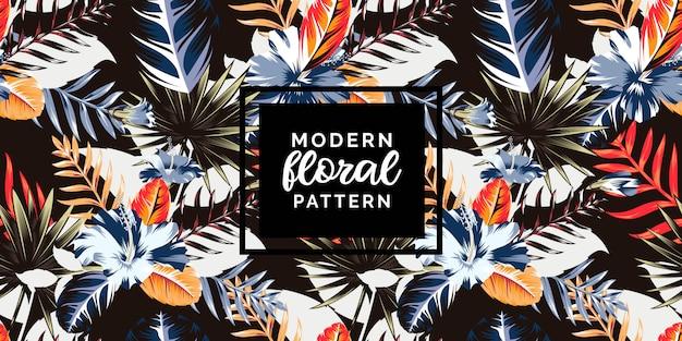 Motif tropical botanique abstrait