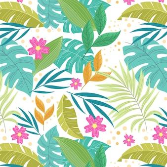 Motif tropical d'été dessiné à la main