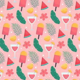 Motif tropical d'été plat