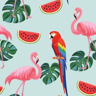 Motif tropical avec des flamants roses et des perroquets.