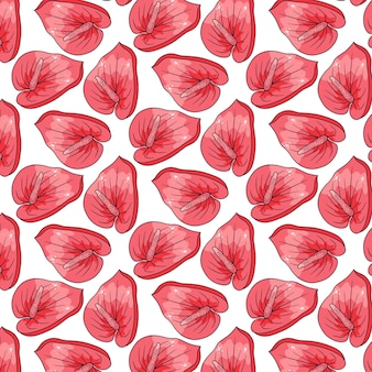 Motif tropical avec des fleurs exotiques en style cartoon. impression d'été lumineuse pour la conception et l'arrière-plan.