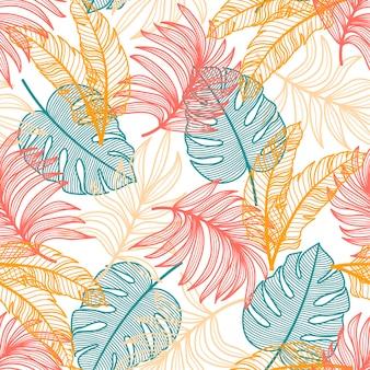 Motif tropical sans couture exotique avec des plantes et des feuilles colorées sur un fond délicat