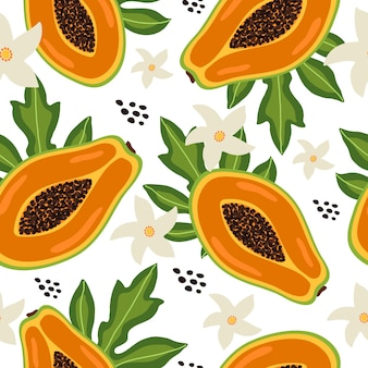 Motif tropical sans couture avec des feuilles et des fleurs colorées de fruits à moitié de papaye sur fond blanc