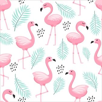 Motif tropical sans couture à la mode avec des flamants roses et des feuilles de palmier vert menthe. fond d'art exotique d'hawaï. conception pour le tissu et la décoration.