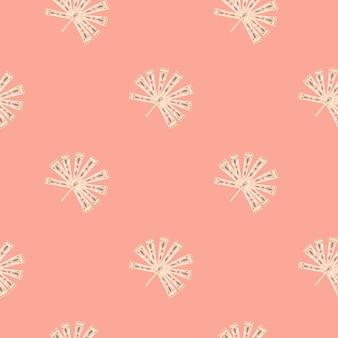 Motif tropique sans couture dans un style minimaliste avec des formes de palmier licuala folklorique blanc doodle