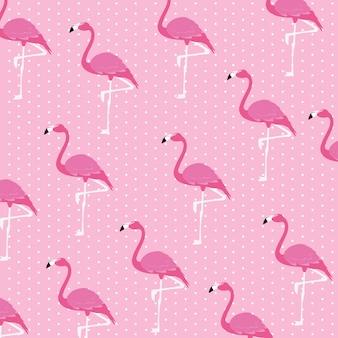 Motif de troupeau d'oiseaux flamants roses