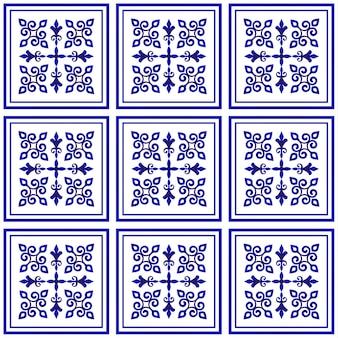 Motif de tuile, fond décoratif en porcelaine, élément en céramique floral bleu et blanc