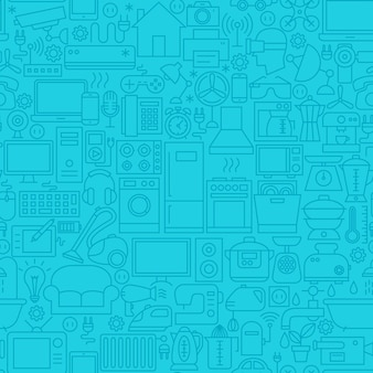 Motif de tuile de ligne bleue domestique. illustration vectorielle de fond de contour.
