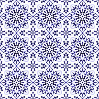 Motif de tuiles décoratives bleues et blanches