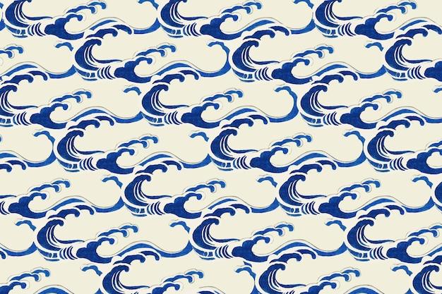 Motif de vague traditionnel japonais, remix d'œuvres d'art de watanabe seitei