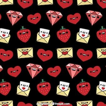 Motif valentines fantastique avec des personnages souriants