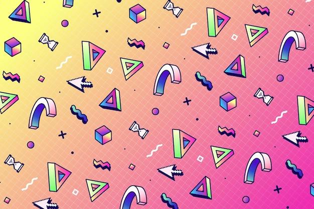 Motif vaporwave linéaire avec des formes géométriques