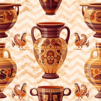Motif de vase. modèle de dessin animé vintage de poterie grecque