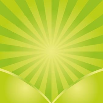 Motif vectoriel de fond sunburst avec palette de couleurs d'herbe verte de conception rayée radiale tourbillonnante.