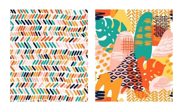 Motif vectoriel géométrique de formes abstraites dans des couleurs vives avec des feuilles tropicales, des coups de pinceau et une impression de texture animale. modèle de texture transparente moderne avec grunge, rayures, cercle en style collage