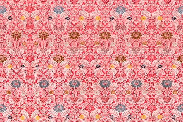 Motif Victorien Rouge Floral Vecteur gratuit