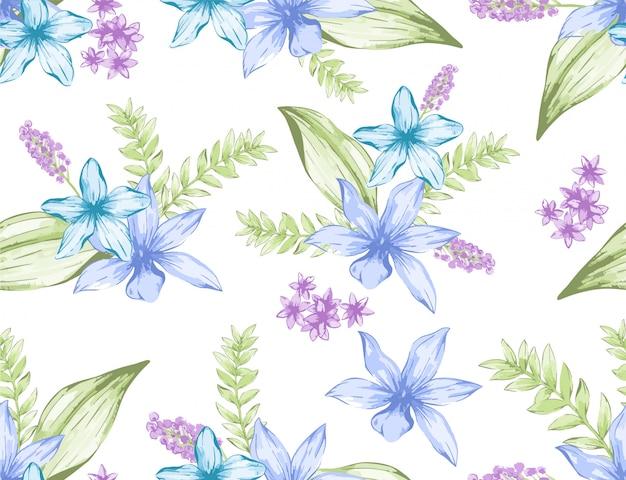 Motif vintage aquarelle bleu