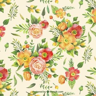 Motif vintage de fleurs peintes à la main
