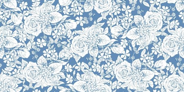 Motif vintage floral sans couture avec des bouquets de roses pour les tissus de robe de printemps