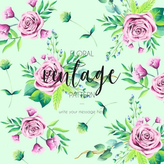 Motif vintage avec des roses roses