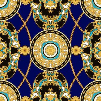 Motif vintage sans couture avec rosaces décoratives dorées