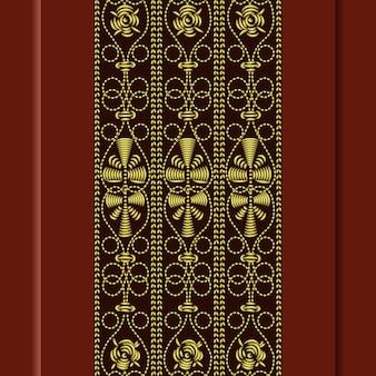 Motif vintage traditionnel, broderie or: rose, feuilles, tourbillons sur fond rouge
