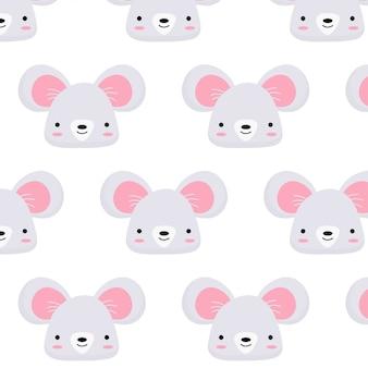 Motif de visage de souris mignon