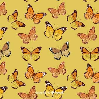 Motif volant d'essaim de papillons