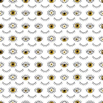 Motif yeux dorés dans le style de ligne.
