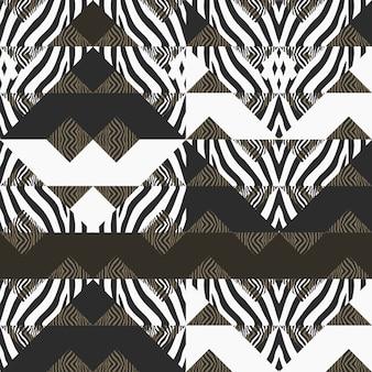 Motif de zèbre avec abstrait géométrique
