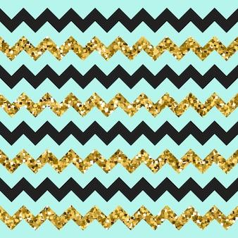 Motif en zigzag à chevrons or scintillants