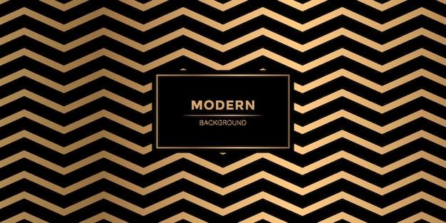 Motif zigzag à la mode lignes d'or sur fond noir