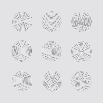 Motifs abstraits d'empreintes digitales rondes détaillées