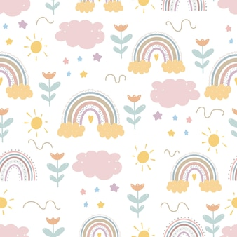 Motifs arc-en-ciel mignons impression enfantine créative papier numérique