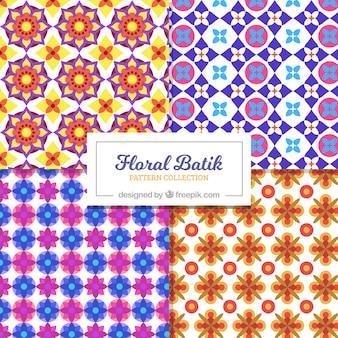 Motifs de batik colorés de fleurs géométriques