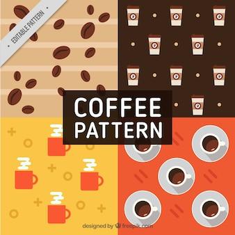 Motifs de café dans design plat